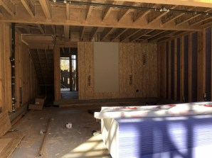 Here's inside the garage - and the stairs to the 2nd floor have been built