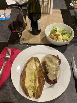 I grilled a filet, baked a potato, made a salad