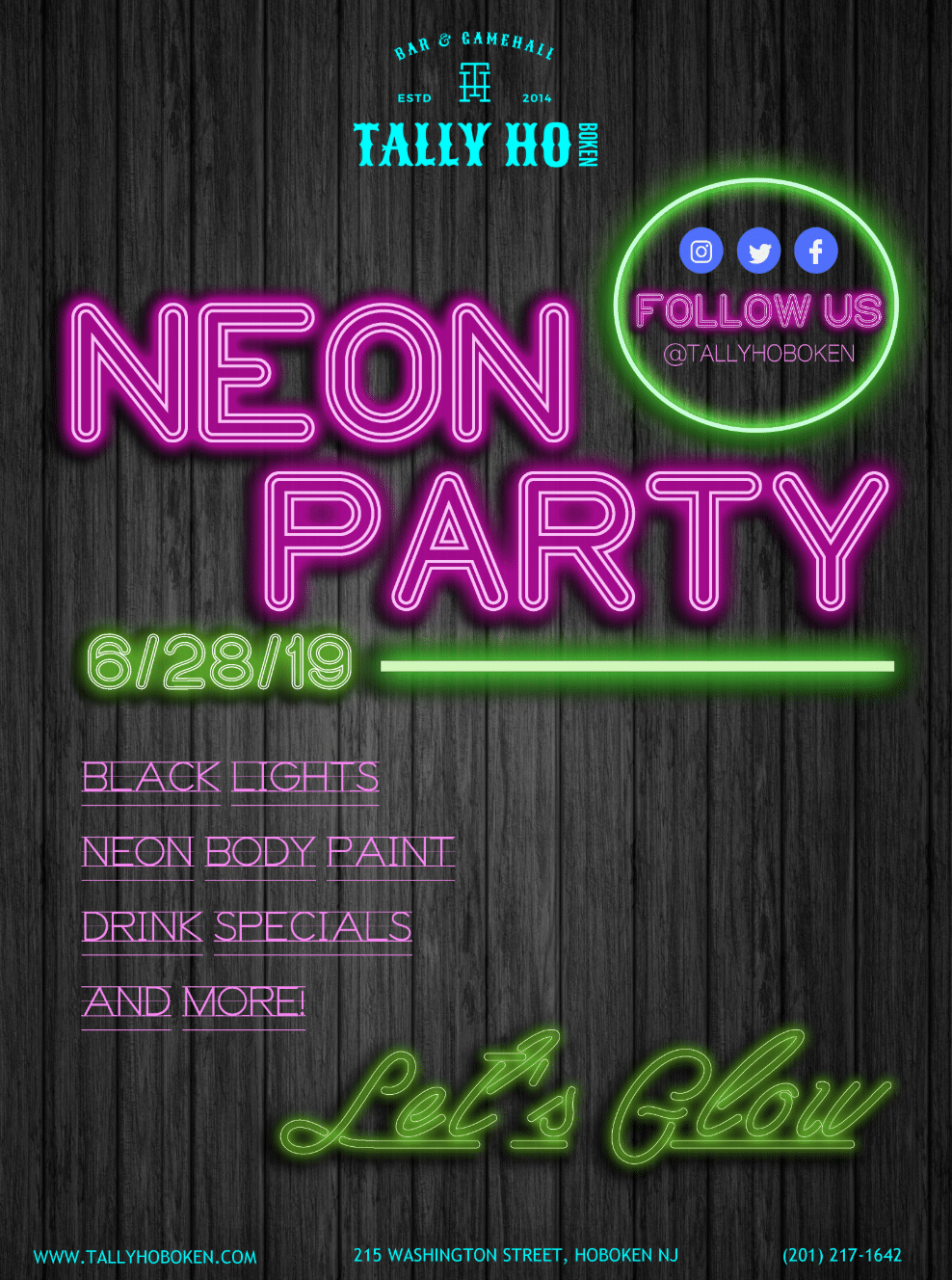 neon party tally ho