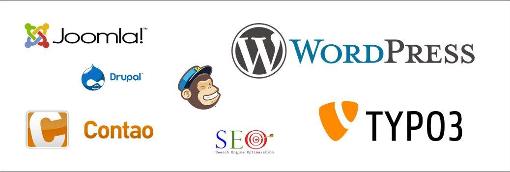 Bild mit Logos von CMS-Systemen