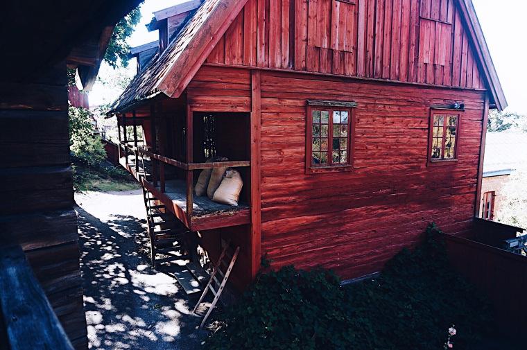 Skansen, Freilandmuseum in Stockholm Schweden, Rotes schwedisches Haus