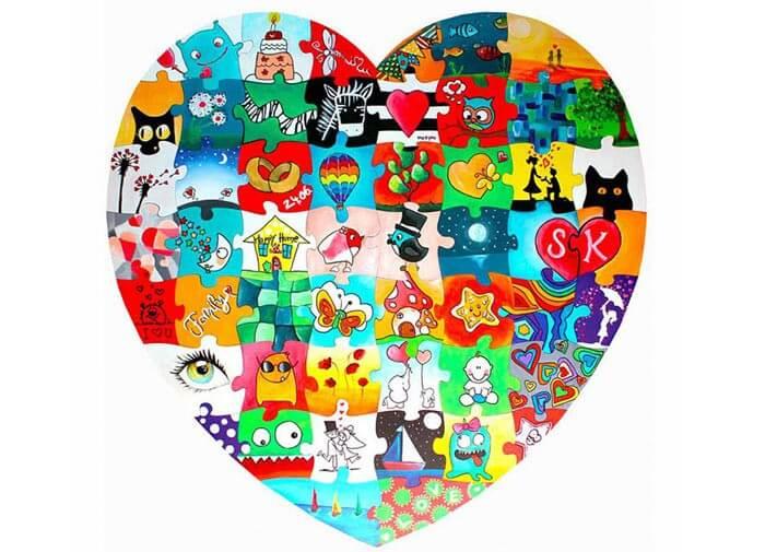 Liebe Herz Diy Anstrich Durch Nummer Kits Acryl 16x20 Cm Bild
