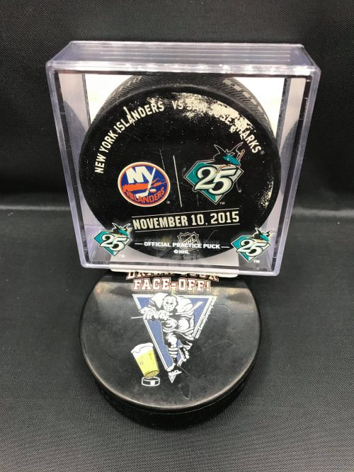 2015 San Jose Sharks vs New York Islanders November 10-2015 With 25 year puck case holder. Used warm up puck.