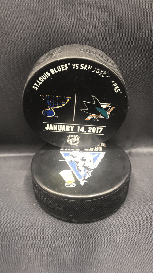 2017 San Jose Sharks vs St.Louis Blues Used warm up puck. January 14 2017.