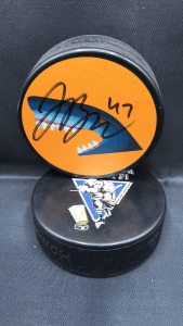 2017-18 San Jose Sharks Limited Edition Mystery Puck #74 Dylan DeMelo.