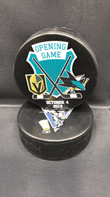 "2019 San Jose Sharks vs Las Vegas golden Knights Opening Game limited edition puck ""Rare"""