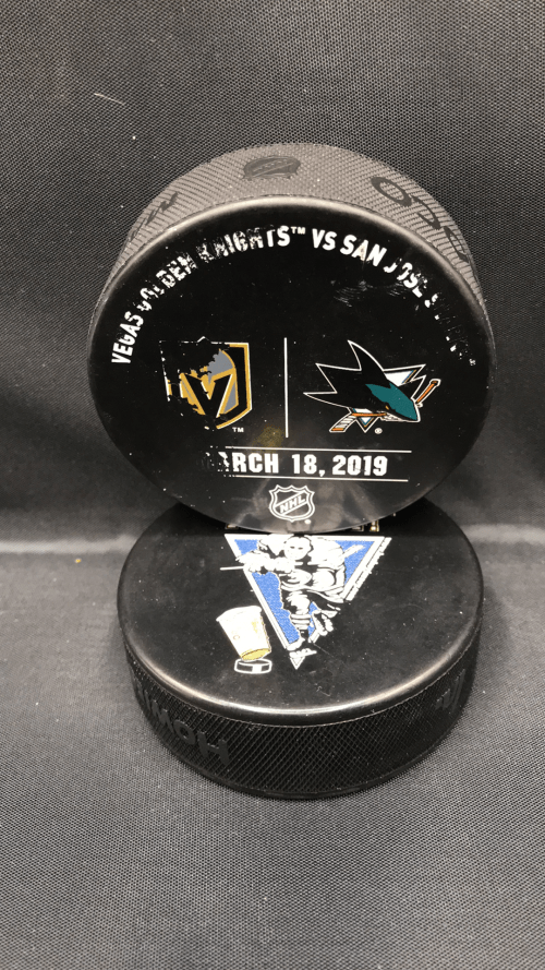 2019 San Jose Sharks vs Las Vegas Golden Knights Used Warm Up Puck. March 18-2019.