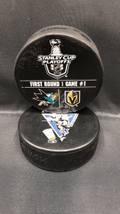 2019 San Jose Sharks vs Vegas Golden Knights Stanley Cup Playoffs Round 1 official warm up puck. Game 1.