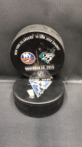 2015 San Jose Sharks vs new Your Islanders used warm up puck. November 10 2015.