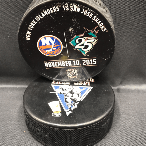 2015 San Jose Sharks vs new Your Islanders used warm up puck. November 10 2015.