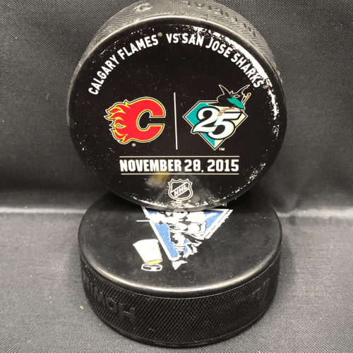 2015 San Jose Sharks vs Calgary Flames Used warm up puck. November 28 2015.