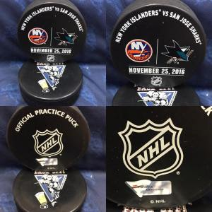 2016 San Jose Sharks vs New York Islanders Official used Warm Up Puck. November 25 2016 #AA0022230