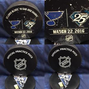 2016 San Jose Sharks vs St.Louis Blues Official Used Warm up Puck. March 22 2016.