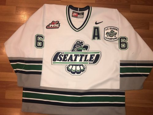 2003-2004 Mathew Spiller WHL Seattle Thunderbirds Game Worn jersey with USA Division Champions patch W/A.