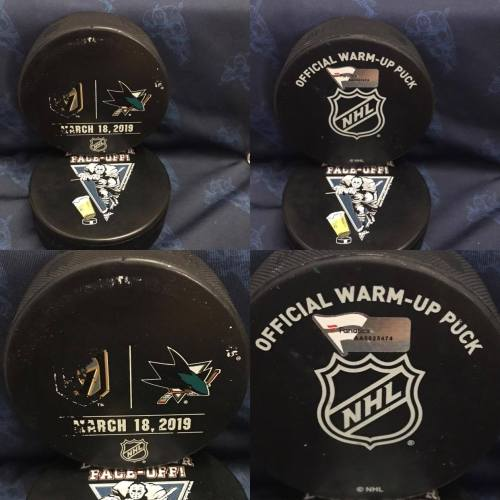 2019 San Jose Sharks vs Las Vegas Golden Knights official used warm Up Puck. #AA0025474. March 18 2019.