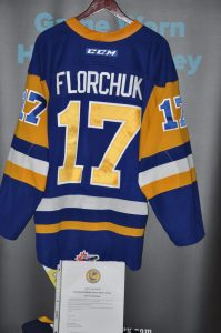 2018-19 WHL Saskatoon Blades #17 Eric Florchuk Game Worn jersey. CCM/White. Size-54 LOA from team.