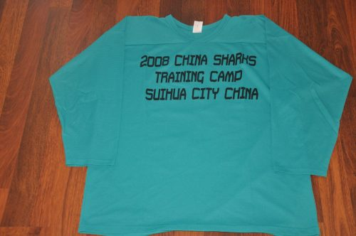 2009 China Sharks Teal Training camp jerseys. Light weight Material. Obtained from team.