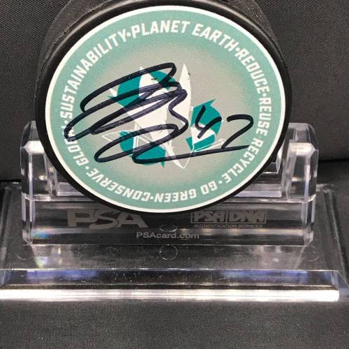 2017-18 San Jose Sharks Foundation Limited Edition Go Green Mystery Puck series collectors puck. #47 Joakim Ryan.