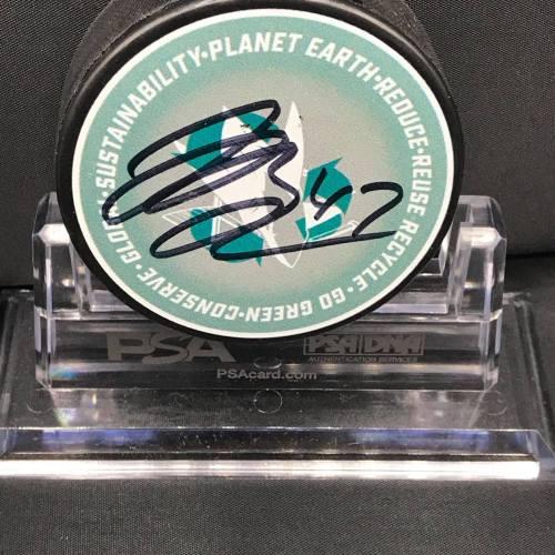 2017-18 San Jose Sharks Foundation Limited Edition Go Green Mystery Puck series collectors puck. #47 Joakim Ryan.