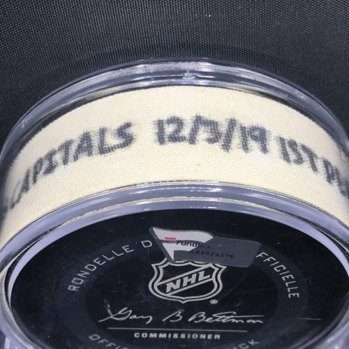 2019 San Jose Sharks vs Washington Capitals 12-3-19 1st Period game used puck. #AA0024010