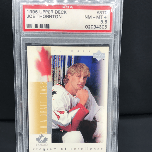 1996 Upper Deck Joe Thornton Rookie Card. #370 NM/MT+ PSA Graded 8.5. #02034305 PSA Graded.