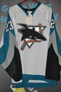 2004-05 San Jose Sharks Game Worn Niko Dimitrakos Jersey. This was worn during the 2004-2005 season.  Size is 52. Jersey shows wear.  Reebok style jersey.  Obtained from the San Jose Sharks.