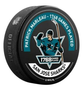 """San Jose Sharks 14 Patrick Marleau.  Patrick Marleau Record Breaking 1768 Most NHL Games Played Warm Up Puck.  San Jose Sharks Team Exclusive.  Limited Edition.  Regulation size 6-ounce puck.  3-inch diameter 100% vulcanized rubber.  """"Not Game Used"""""""