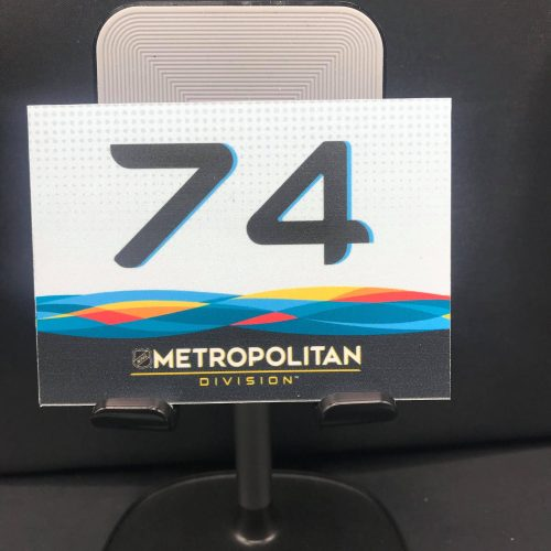 2019 San Jose All-Star Game Stick rack number plates. Metro Division #74 John Carlson. These are the plates that the equipment managers used on the rack during all-star game for players sticks. Velcro on back.