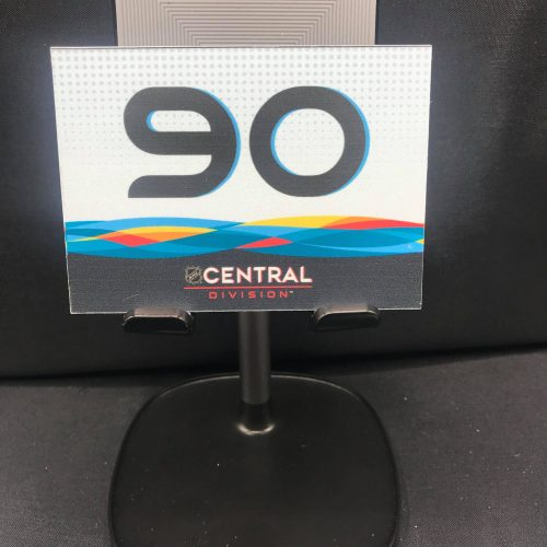 2019 San Jose All-Star Game Stick rack number plates. Central Division #90 Ryan O'Reilly. These are the plates that the equipment managers used on the rack during all-star game for players sticks. Velcro on back.