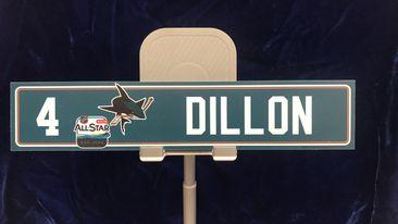 """#4 San Jose Sharks Brenden Dillon Locker Room Nameplate """"10x2"""""""