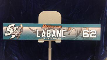 "#62 AHL San Jose Barracudas Kevin LaBanc Locker Room Nameplate ""12x2"""