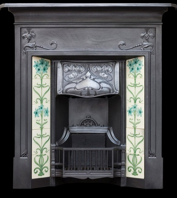 An art noveau styled antique open fire