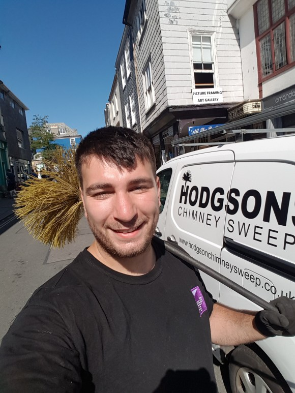 Danny Hodgson Chimney Sweep of Hodgsons Chimney Sweeps, Sweeping on Totnes High Street sweeping and servicing appliances