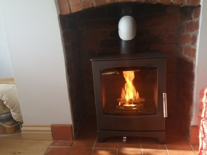 Hodgsons Chimney Sweeps installation of a Beech 1 Stove, Schiedel Technoflex 904 grade liner and fittings and sign off through HETAS