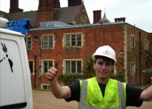 Danny Hodgson helping Daniel Hodgson during his apprenticeship sweeping and CCTV inspecting several chimneys