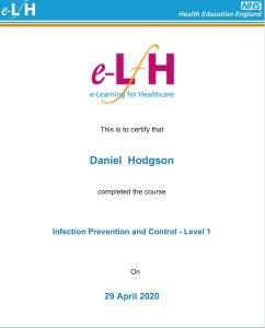 Mr Daniel Hodgson. Chimney sweep in exeter Level 1 qualified by the NHS in Infection, Prevention and control