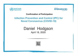 Mr Daniel Hodgson. Chimney sweep in Torbay qualified in Covid-19 infection, prevention and control
