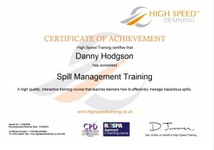 Mr Danny Hodgson, Torbay Chimney Sweep qualified in Spill Management througb High Speed Training
