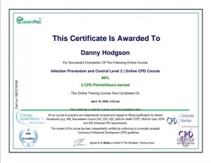 Mr Danny Hodgson chimney sweep from Torbay qualified in infection prevention and control