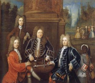 1708 Elihu Yale the 2nd Duke of Devonshire,Lord James Cavendish, Mr Tunstal and a Page