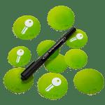 • 4x NFC Sticker bedruckt (2x 40mm und 2x 50mm Durchmesser)