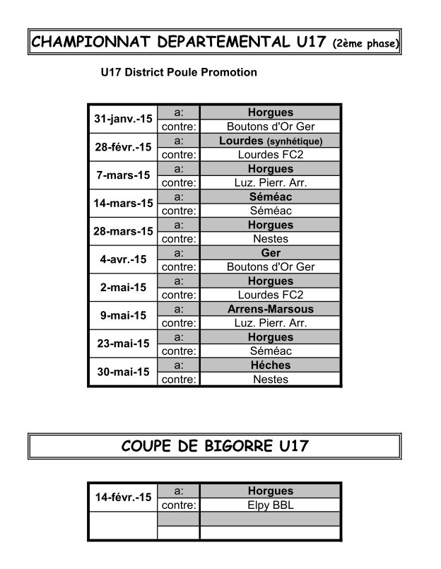 calendrier 2° phase