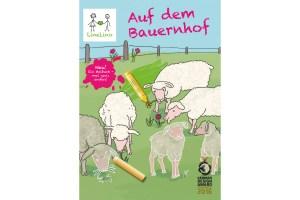 Line Lino Auf dem Bauernhof, das Malen -und Zeichnenlernen Buch vom Bobo Verlag. Abgebildet sind Schafe zum Anmalen und Stifte