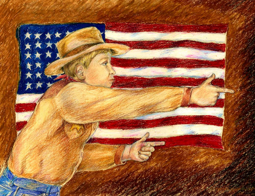 Little Hero—Fighting the Enemy Illustration of young boy with cowboy hat