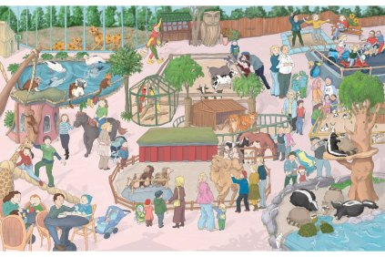 Til Eulenspiegel has played some of his tricks in the Arche Noah Zoo in Germany. Can you find them? Illustration of a small zoo with many people and zoo animals, including skunks, racoons, porcupines, bunnies, goats, parrots, monkeys, leopards, camels and horses.