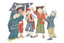 One for all and all for one! This is an illustration of children in Pirate costume raising their enter knives with a girl waving a pirate flag.