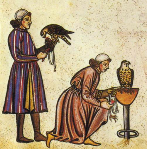 "Hohenstaufen Emperor Frederick II's ""About the Art of Hunting with Birds"" Two Falconers (source Wikipedia)"