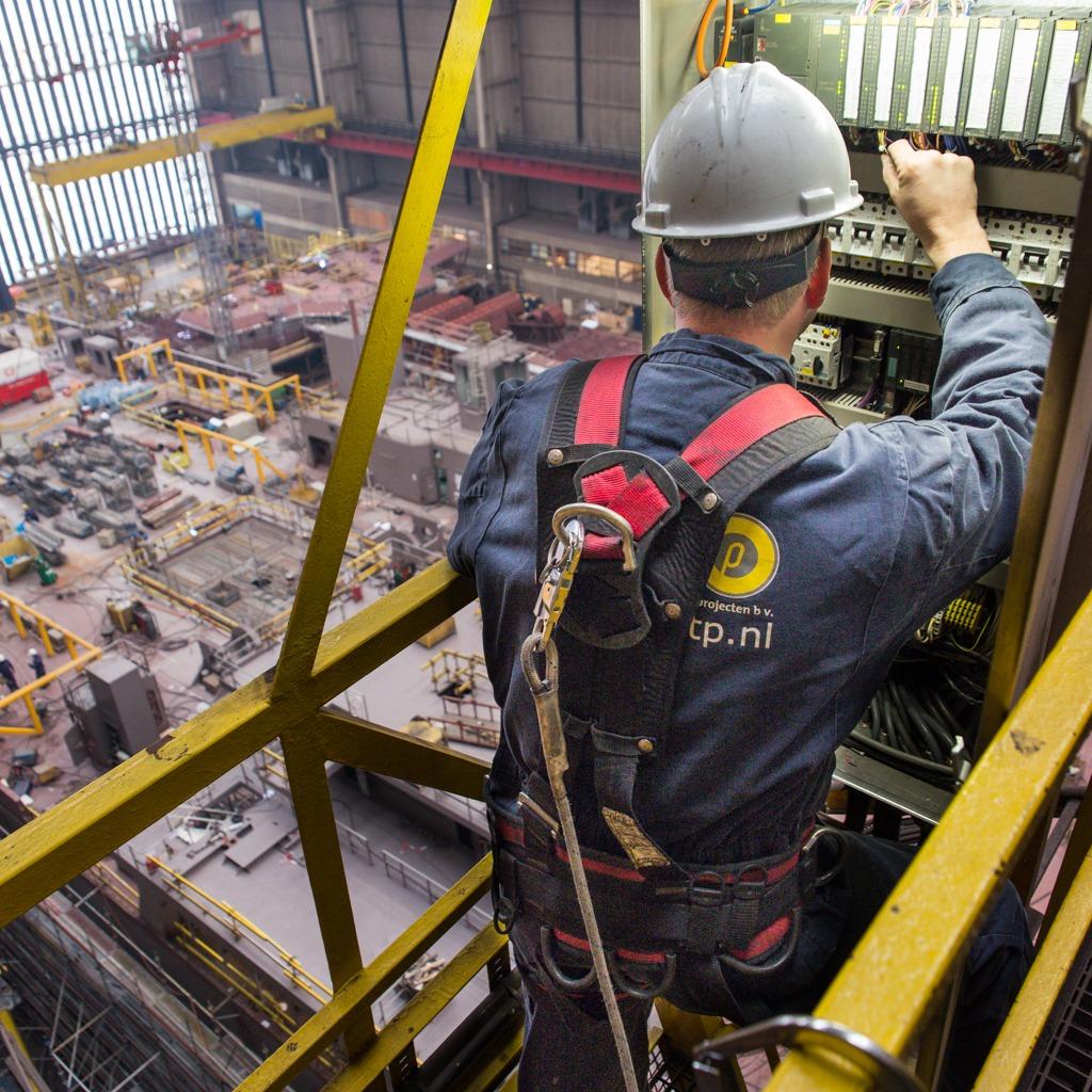 Bedrijfsreportage op grote hoogte. Industriële fotografie