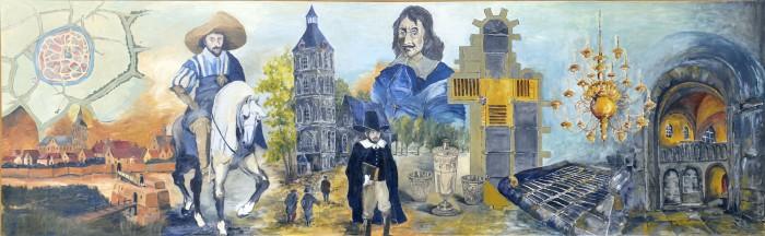 Paneel 1 Stadsplattegrond en  stadsaanzicht ± 1598.  Prins Maurits bij de inname   van Oldenzaal in 1597. De    Plechelmuskerk wordt   toegewezen aan de    protestanten.     De Plechelmuskerk anno 1598.  Oldenzaal eerste predikant Ds. Luderus Vogelsanck 1598-1605. Hij is in augustus 1605 gevlucht voor de Spaanse legers van Spinola.  Bisschop van Galen (Bomm'n Beernd) 1672.  Avondmaalsbeker 1631 aangeboden door  Johan Diederich von Heiden, commandeur van Ootmarsum. De 2 kleine bekers zijn in 1929 geschonken door Ds. Herman, voorstellende de genezing van de blinde Tobias en Salomo's oordeel.  Plattegrond van de Plechelmuskerk, het gele  gedeelte geeft de gebruikte ruimte door de  protestanten weer.  Duivelsrooster, dat voor het kerkhof lag.  Kroonluchter ± 300 jaar oud.  Oksaal, verwijderd in 1795