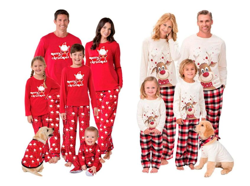 family Christmas pajamas - parents, children and pets